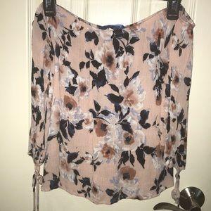 Pink Floral Print Off-the-shoulder Blouse